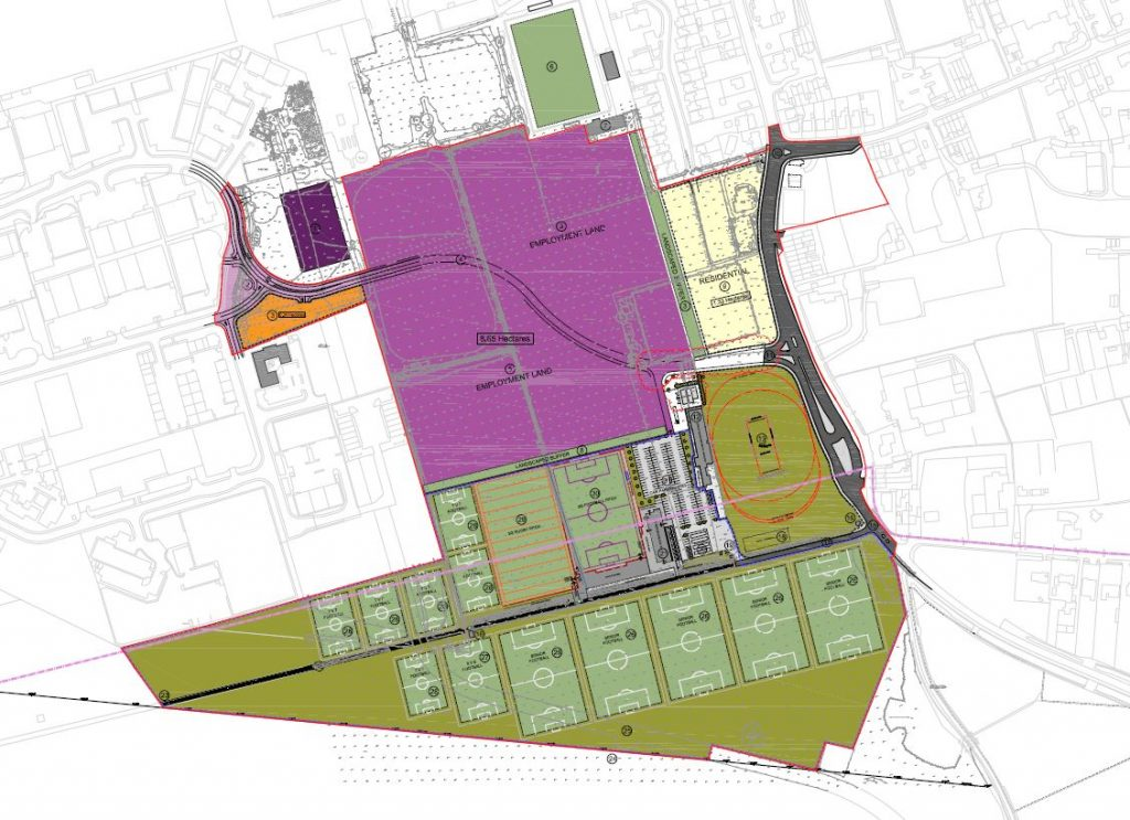Planned layout of 12 new sports pitches